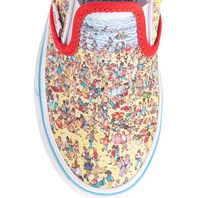 Alternate view of Vans x Where's Waldo Slip On Beach Skate Shoe - Little Kid - Multicolor