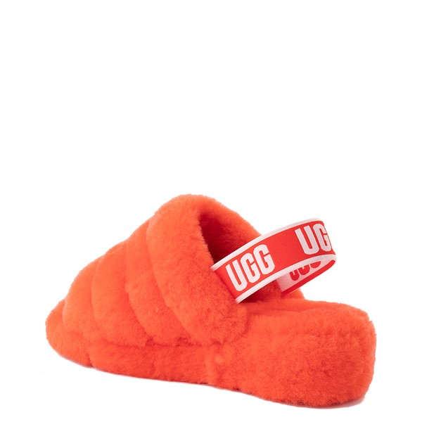 alternate image alternate view Womens UGG® Fluff Yeah Slide Sandal - Red CurrantALT1