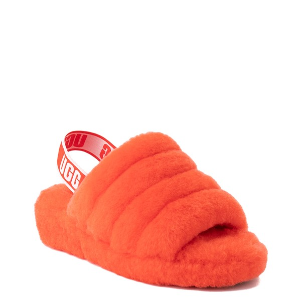alternate image alternate view Womens UGG® Fluff Yeah Slide Sandal - Red CurrantALT5