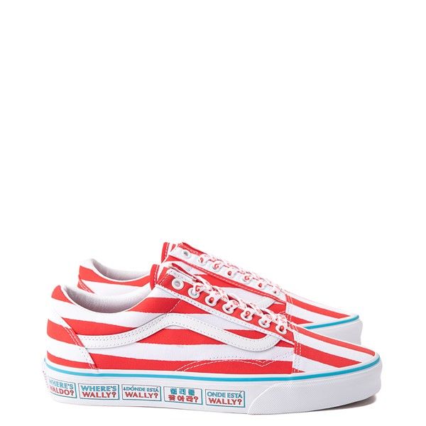 Main view of Vans x Where's Waldo Old Skool International Stripes Skate Shoe - White / Red