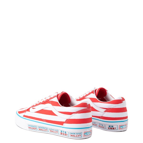 alternate image alternate view Vans x Where's Waldo Old Skool International Stripes Skate Shoe - White / RedALT1