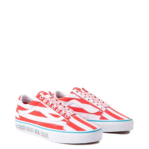 alternate image alternate view Vans x Where's Waldo Old Skool International Stripes Skate Shoe - White / RedALT1C