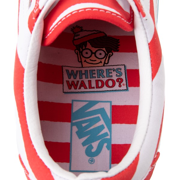 alternate image alternate view Vans x Where's Waldo Old Skool International Stripes Skate Shoe - White / RedALT6