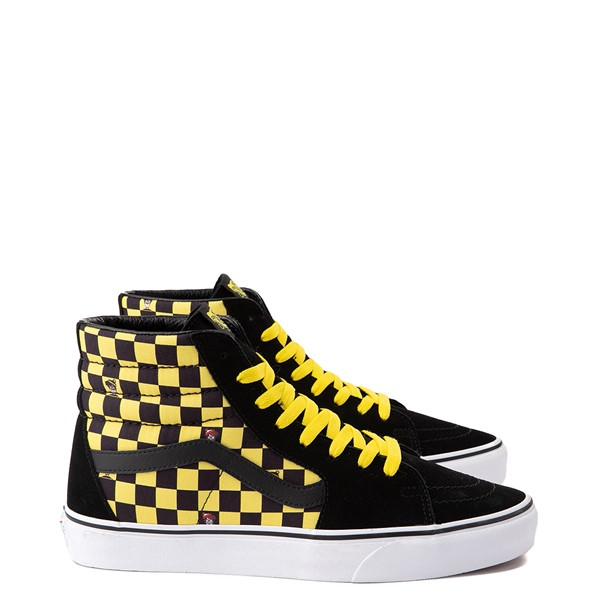 Main view of Vans x Where's Waldo Sk8 Hi Odlaw Checkerboard Skate Shoe - Black / Yellow