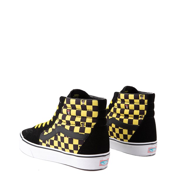 alternate image alternate view Vans x Where's Waldo Sk8 Hi Odlaw Checkerboard Skate Shoe - Black / YellowALT1