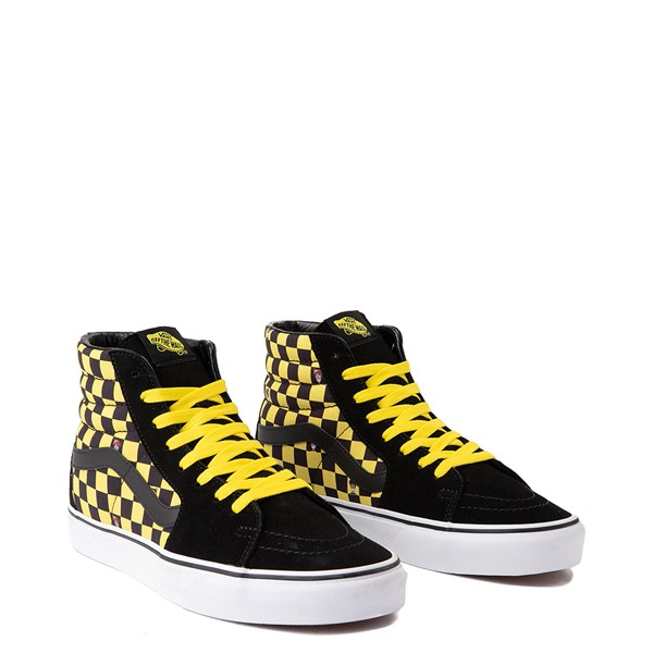 alternate image alternate view Vans x Where's Waldo Sk8 Hi Odlaw Checkerboard Skate Shoe - Black / YellowALT1B-2