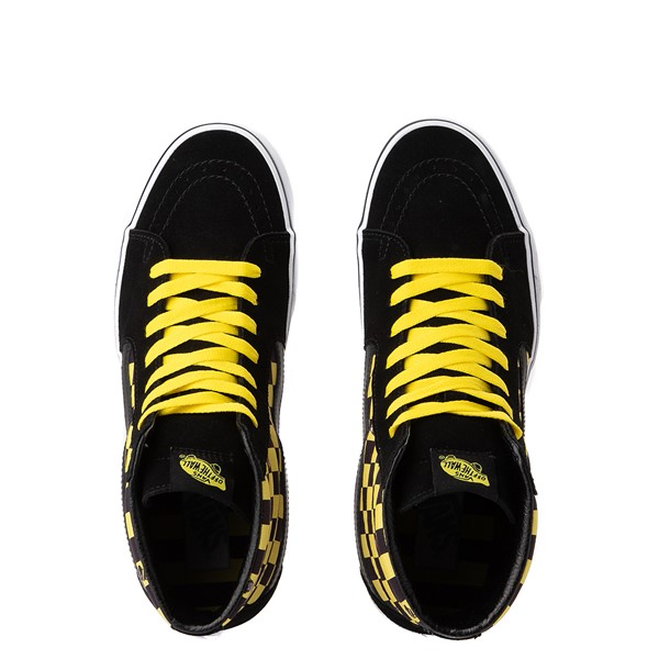 alternate image alternate view Vans x Where's Waldo Sk8 Hi Odlaw Checkerboard Skate Shoe - Black / YellowALT2