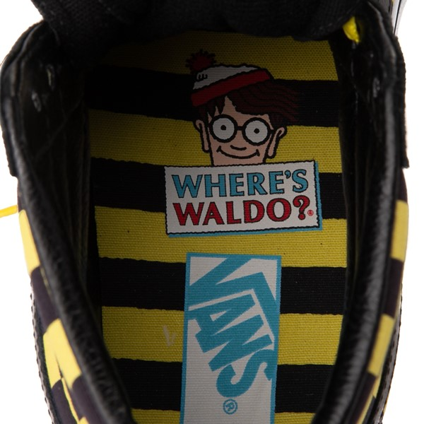 alternate image alternate view Vans x Where's Waldo Sk8 Hi Odlaw Checkerboard Skate Shoe - Black / YellowALT2C