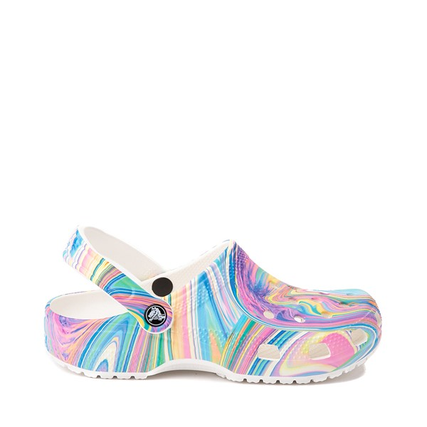 Main view of Crocs Classic Marble Clog - White / Marbled Pastel Multicolor