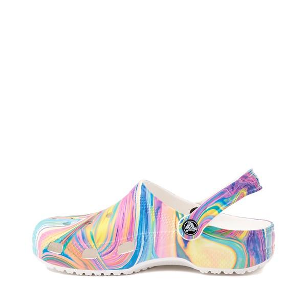 alternate image alternate view Crocs Classic Marble Clog - White / Marbled Pastel MulticolorALT1
