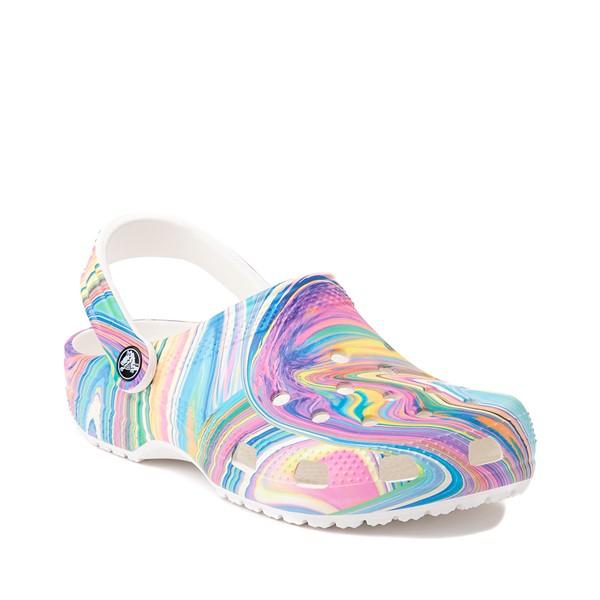 alternate image alternate view Crocs Classic Marble Clog - White / Marbled Pastel MulticolorALT5