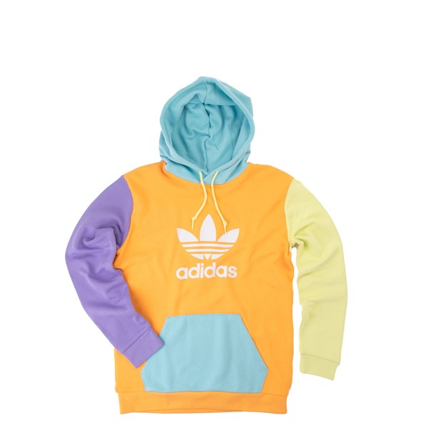 Main view of Mens adidas Blocked Trefoil Hoodie - Hazy Orange / Light Purple / Yellow Tint