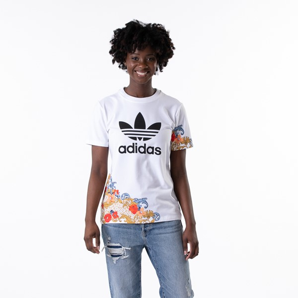 Main view of Womens adidas x Her Studio Trefoil Tee - White / Floral