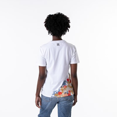 Alternate view of Womens adidas x Her Studio Trefoil Tee - White / Floral