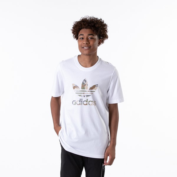 Main view of Mens adidas Trefoil Tee - White / Camo