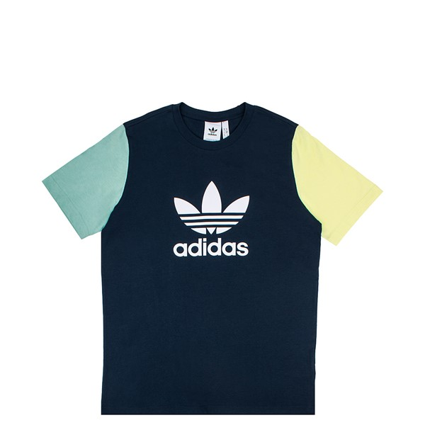 Main view of Mens adidas Blocked Trefoil Tee - Crew Navy / Hazy Green / Ice Yellow