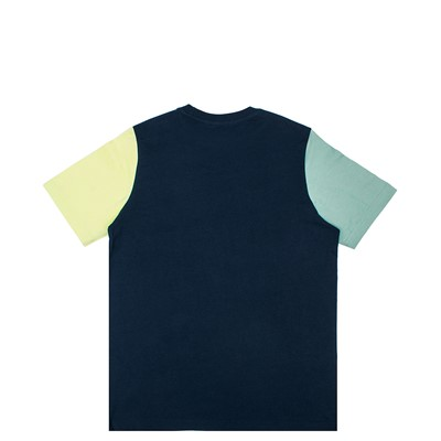 Alternate view of Mens adidas Blocked Trefoil Tee - Crew Navy / Hazy Green / Ice Yellow