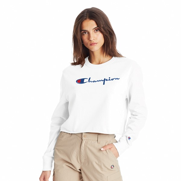 Main view of Womens Champion Script Cropped Long Sleeve Tee - White