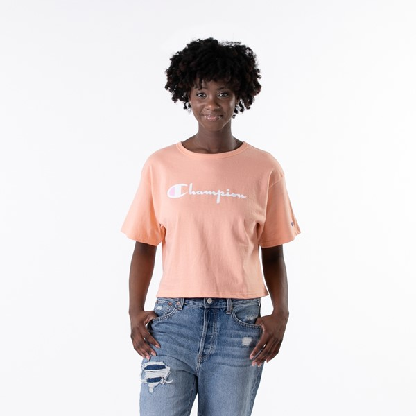 Main view of Womens Champion Cropped Tee - Peach