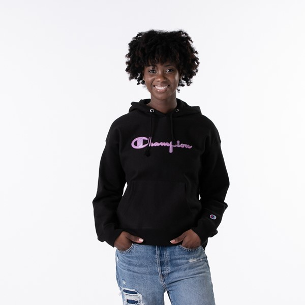 Main view of Womens Champion Reverse Weave Hoodie - Black