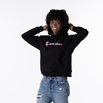 Alternate view of Womens Champion Reverse Weave Hoodie - Black