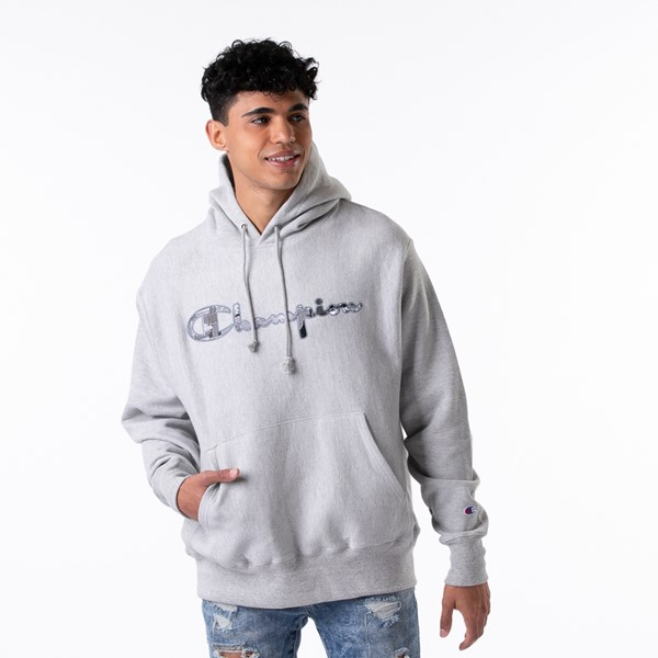 Main view of Mens Champion Reverse Weave Hoodie - Heather Grey
