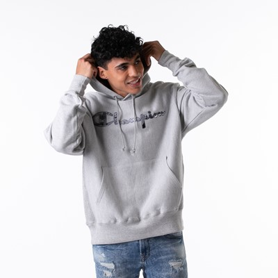 Alternate view of Mens Champion Reverse Weave Hoodie - Heather Grey