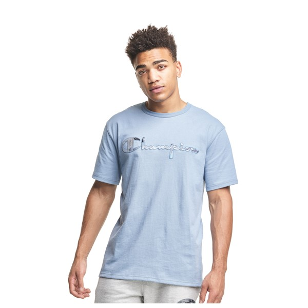 Main view of Mens Champion Heritage Script Tee - Pale Blue