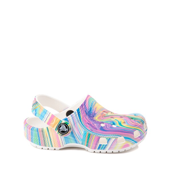 Main view of Crocs Classic Clog - Little Kid / Big Kid - White / Marbled Pastel Multicolor