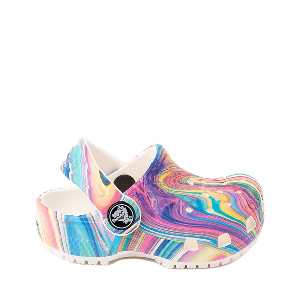 Main view of Crocs Classic Clog - Baby / Toddler / Little Kid - White / Marbled Pastel Multicolor