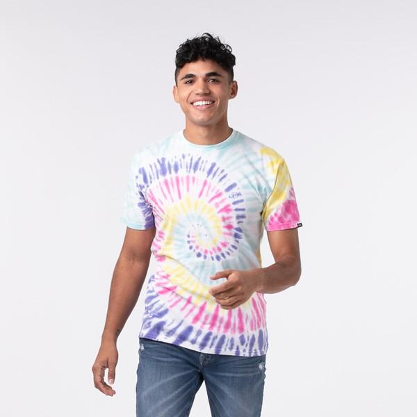 Main view of Mens Vans Drop V Spiral Tie Dye Tee - White / Rainbow