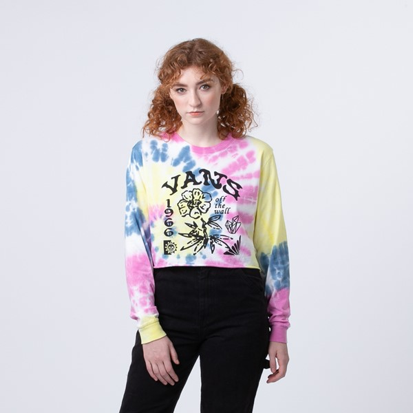 Main view of Womens Vans Spiraling Masc Off Cropped Long Sleeve Tee - Orchid Tie Dye