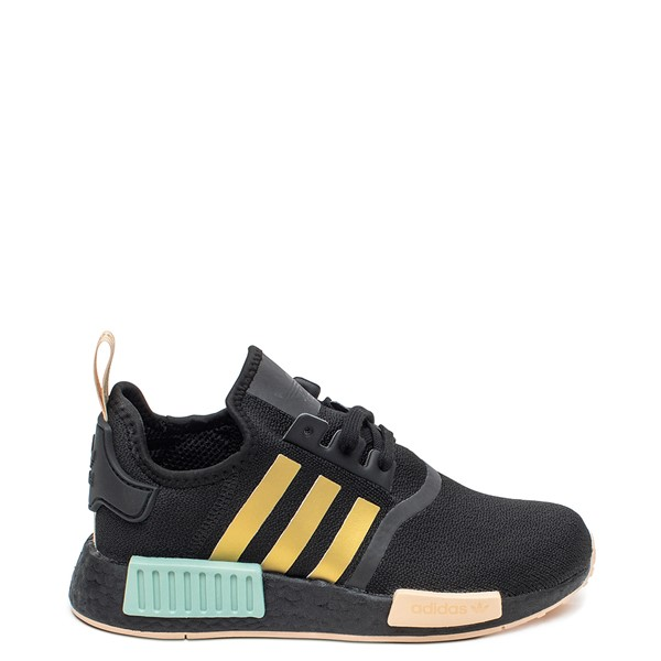 Main view of Womens adidas NMD R1 Athletic Shoe - Black / Gold / Halo Amber