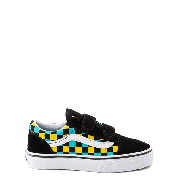Main view of Vans Old Skool V Checkerboard Glow Skate Shoe - Little Kid - Black / Neon Multicolor