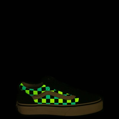 Alternate view of Vans Old Skool V Checkerboard Glow Skate Shoe - Little Kid - Black / Neon Multicolor
