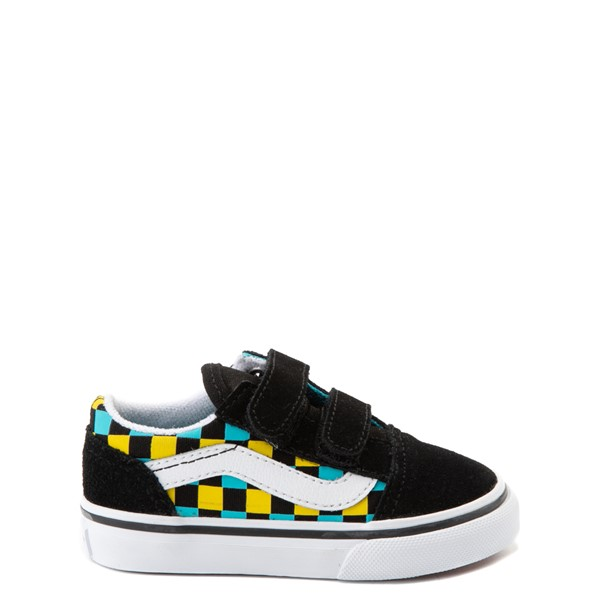 Main view of Vans Old Skool V Checkerboard Glow Skate Shoe - Baby / Toddler - Black / Neon Multicolor