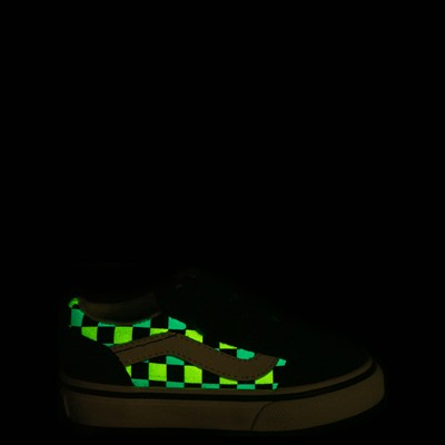 Alternate view of Vans Old Skool V Checkerboard Glow Skate Shoe - Baby / Toddler - Black / Neon Multicolor