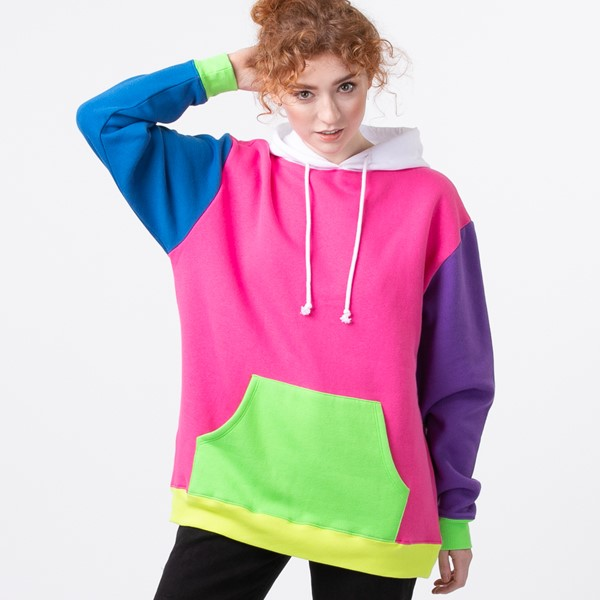Main view of Womens Neon Color-Block Hoodie - Multicolor