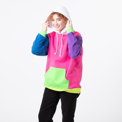 Alternate view of Womens Neon Color-Block Hoodie - Multicolor