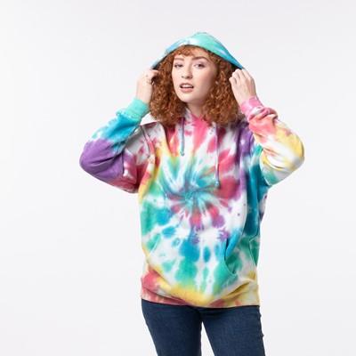 Alternate view of Womens Pastel Tie Dye Hoodie - Multicolor