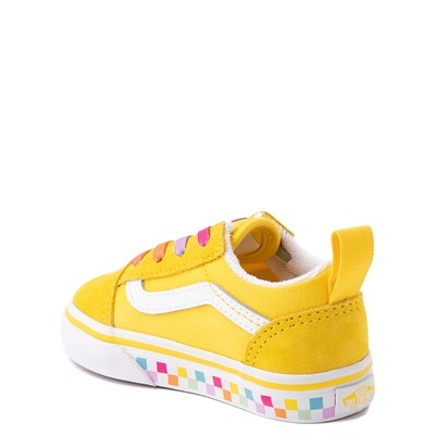 Alternate view of Vans Old Skool Skate Shoe - Baby / Toddler - Cyber Yellow / Rainbow