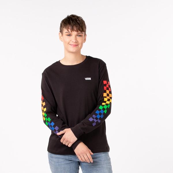 Main view of Womens Vans Pride Checkerboard Long Sleeve Tee - Black / Rainbow