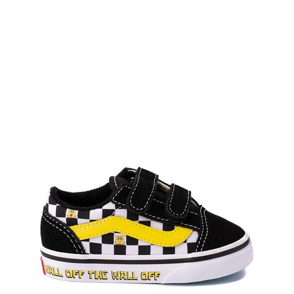 Main view of Vans x SpongeBob SquarePants™ Old Skool V Checkerboard Skate Shoe - Baby / Toddler - Black