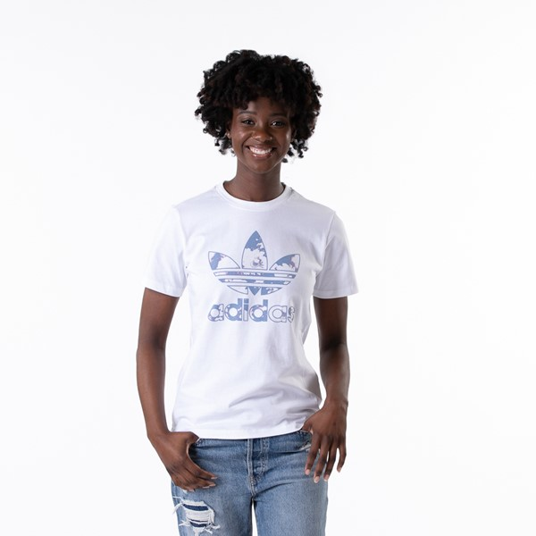 Main view of Womens adidas Trefoil Tee - White / Ambient Sky