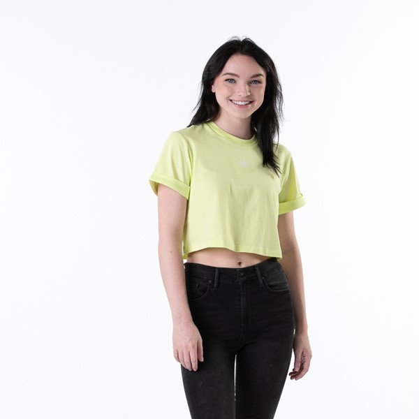 Main view of Womens adidas Adicolor Essentials Cropped Tee - Pulse Yellow