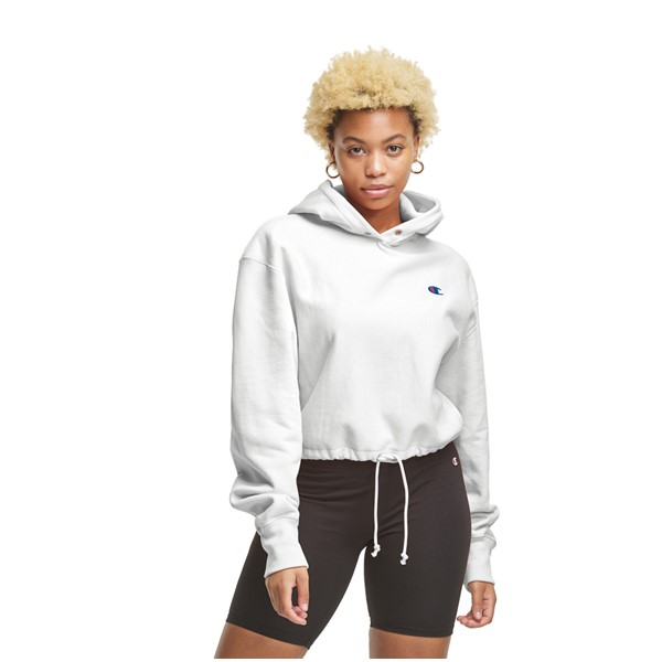 Main view of Womens Champion Reverse Weave Cropped Hoodie - White