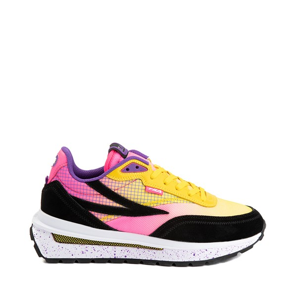 Main view of Womens Fila Renno Athletic Shoe - Black / Lemon / Knockout Pink