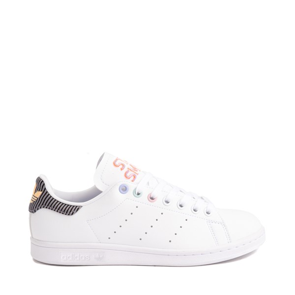 Main view of Womens adidas Stan Smith Athletic Shoe - White / Violet Tone / Clear Pink