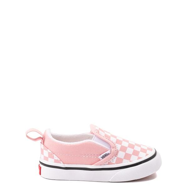 Main view of Vans Slip On V Checkerboard Skate Shoe - Baby / Toddler - Powder Pink