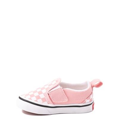 Alternate view of Vans Slip On V Checkerboard Skate Shoe - Baby / Toddler - Powder Pink